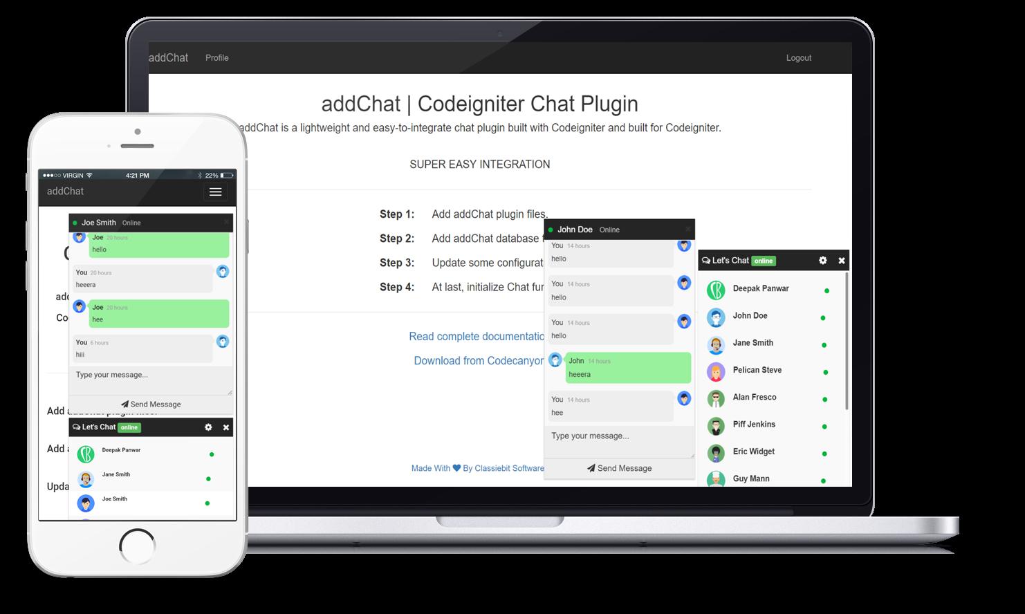 addChat - Codeigniter Chat Plugin